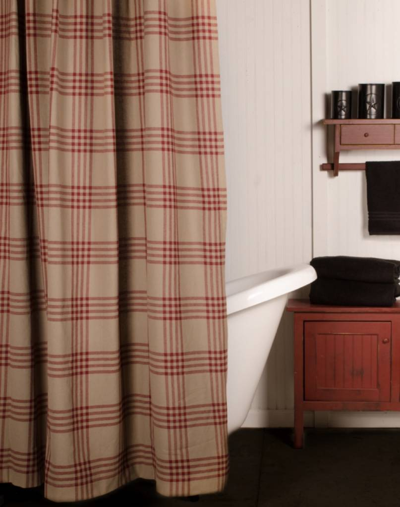 Chesterfield Check Red Shower Curtain | Country Bathrooms ...