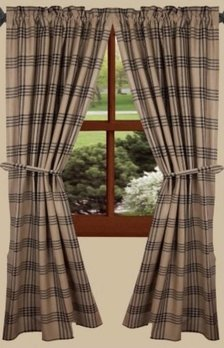 Home Collections By Raghu Chesterfield Check Black Curtain Panels