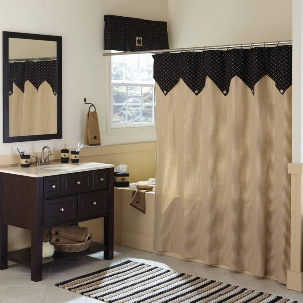 Carrington Ticking Shower Curtain | Country Primitive Bath | Park ...