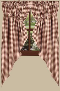 Home Collections By Raghu Heritage House Check Gathered Barn Red Swag