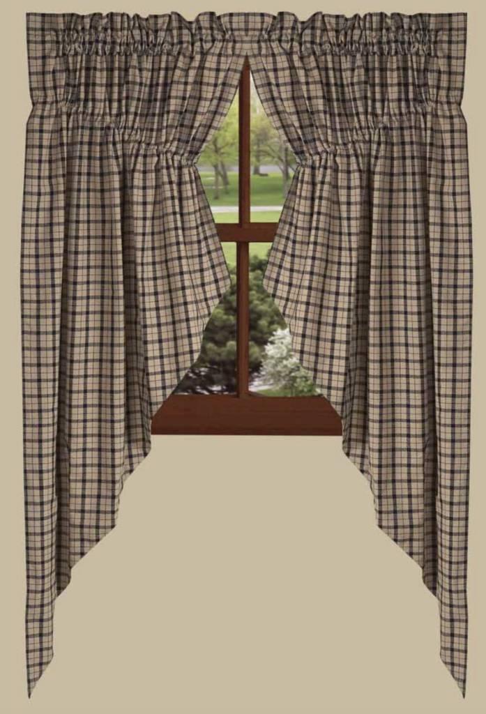 salem check gathered black swag country curtains swags nana 39 s farmhouse primitives nana. Black Bedroom Furniture Sets. Home Design Ideas