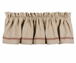Grain Sack Stripe Lined Valance - Barn Red