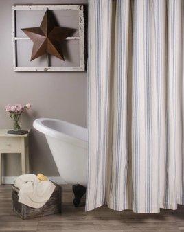 Grain Sack Stripe Shower Curtain Colonial Blue & Cream