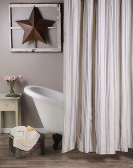 Home Collections By Raghu Grain Sack Stripe Shower Curtain Colonial Blue & Cream