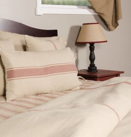 Grain Sack Stripe Duvet Cover Oat & Barn Red