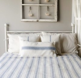 Grain Sack Stripe Queen Bed Cover Colonial Blue & Cream