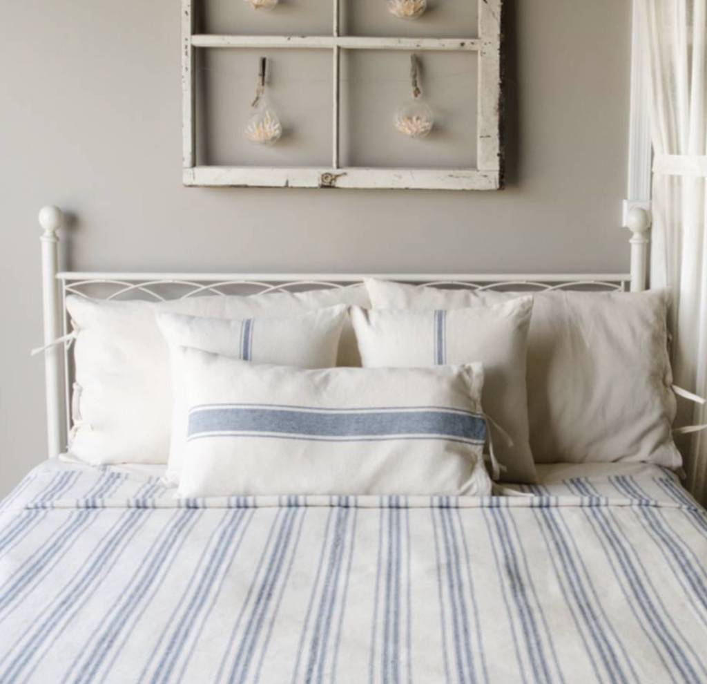 Grain Sack Stripe Queen Bed Cover Country Farmhouse
