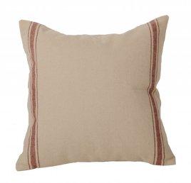 Grain Sack Stripe Barn Red Pillow