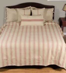 Grain Sack Stripe Queen Bed Cover Oatmeal & Barn Red