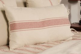 Grain Sack Stripe Lumbar Pillow Cover Oat & Barn Red