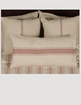 Grain Sack Stripe Pillow Cover Oat & Barn Red