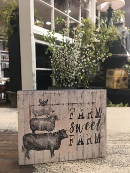 Farm Sweet Farm Block Sign