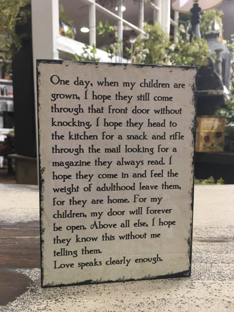 One Day When My Children Are Grown Block Sign Country