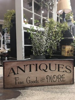 Antiques Fine Goods & More Block Sign