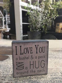 Bushel and a Peck Block Sign