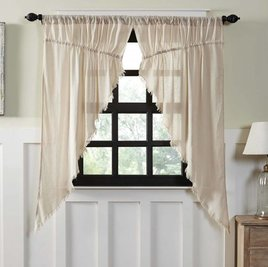 Tobacco Cloth Prairie Curtain Fringed -  Set of 2