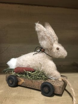 Primitive Wooden Pull Toy Rabbit On Cart - Small
