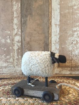 Wood Pull Toy Sheep On Cart - Small