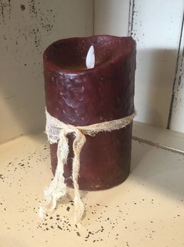 "Hand Dipped Primitive Burgundy Timer Pillar Candle 3.5"" x 5"""