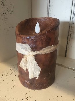 "Hand Dipped Primtive Brown Timer Pillar Candle -  3.5"" x 5"""