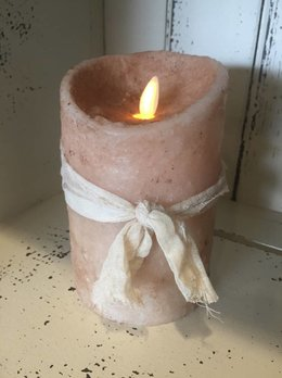 "Hand Dipped Primitive Burnt Ivory Timer Pillar Candle 3.5"" x 5"""