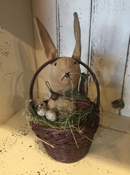 Primitive Handmade Rabbit In Basket