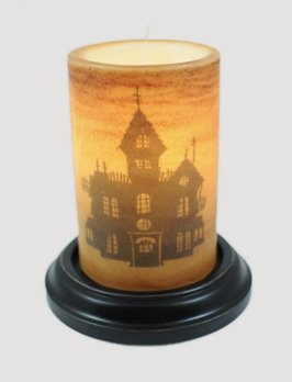 C R Designs Haunted House Candle Sleeve