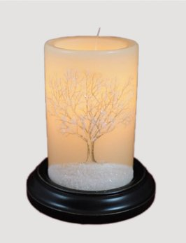 C R Designs Vintage Tree With Snow Candle Sleeve