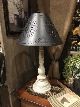 Davenport Lamp Americana Vintage White W/Shade