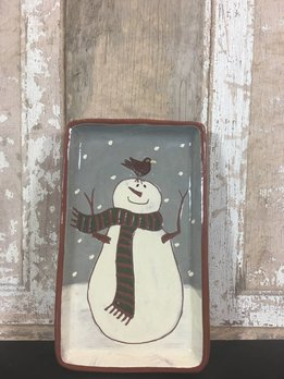 Red Oaks Pottery Snowman Rectangle Small Plate
