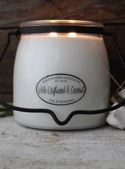 Milkhouse Candles White Driftwood Coconut 16oz Butter Jar