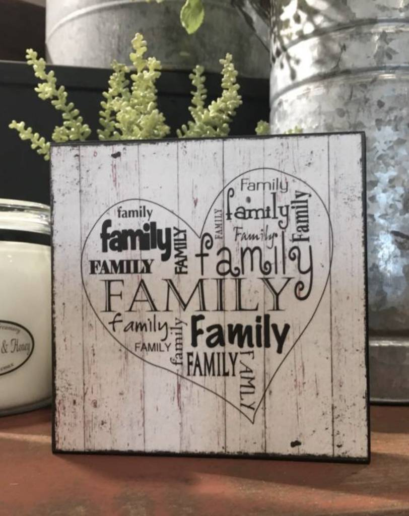 A Heart Filled With Family Block Sign