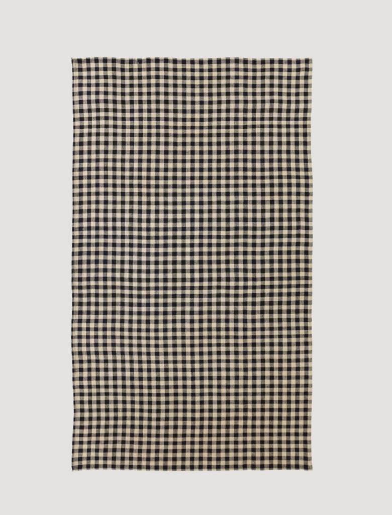 VHC Brands Burlap Black Check Table Cloth