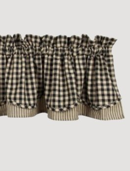 Heritage House Check Black Fairfield Valance