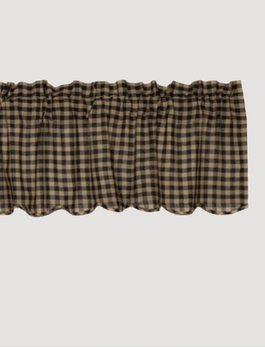 VHC Brands Black Check LIned Scalloped Valance