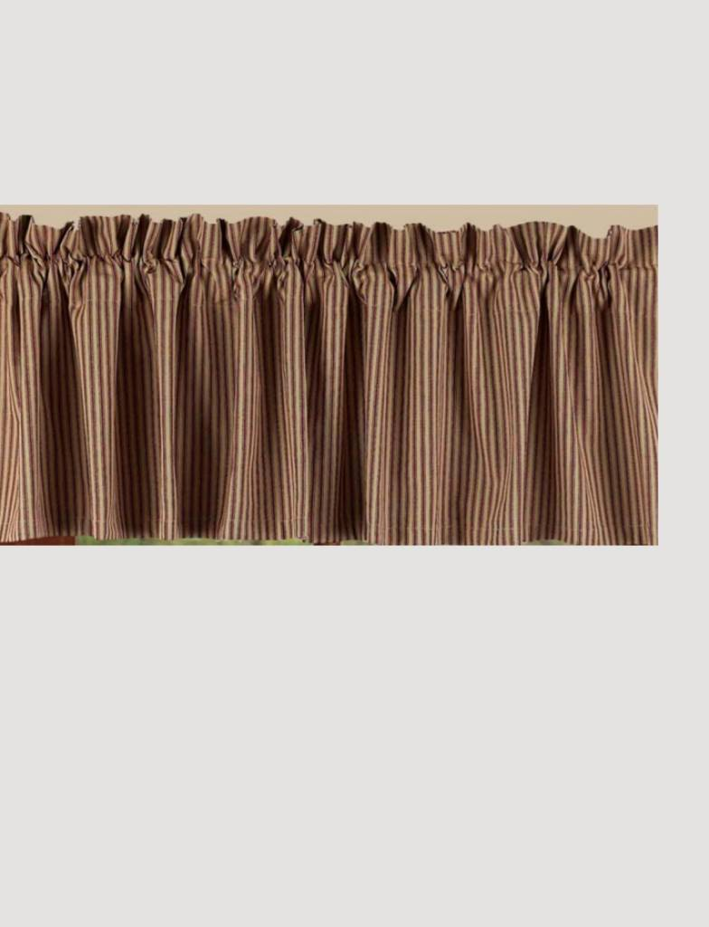 surprising Red Curtains Valance Part - 11: Home Collections By Raghu York Ticking Barn Red Valance ...