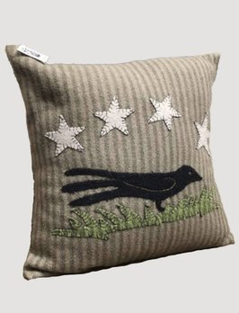 Crow At Night Olive Green Pillow