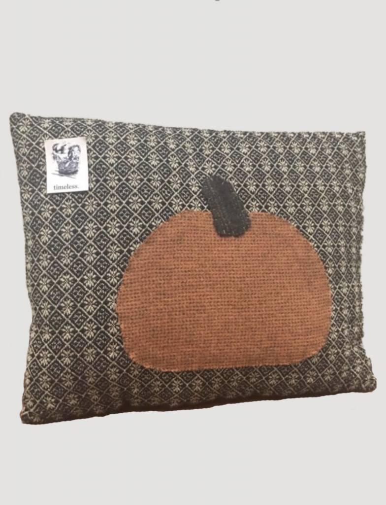 Black Pillow with Pumpkin