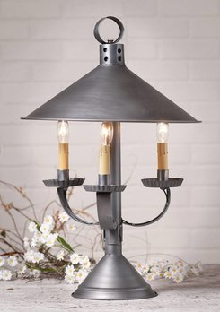 Irvin's Tinware Darby House Shaded Lamp in Antique Tin