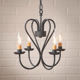 Irvin's Tinware Georgetown Chandelier in Textured Black