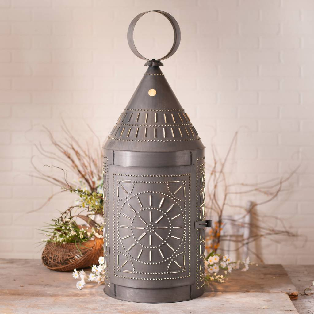 36-Inch Tinner's Lantern with Chisel in Blackened Tin