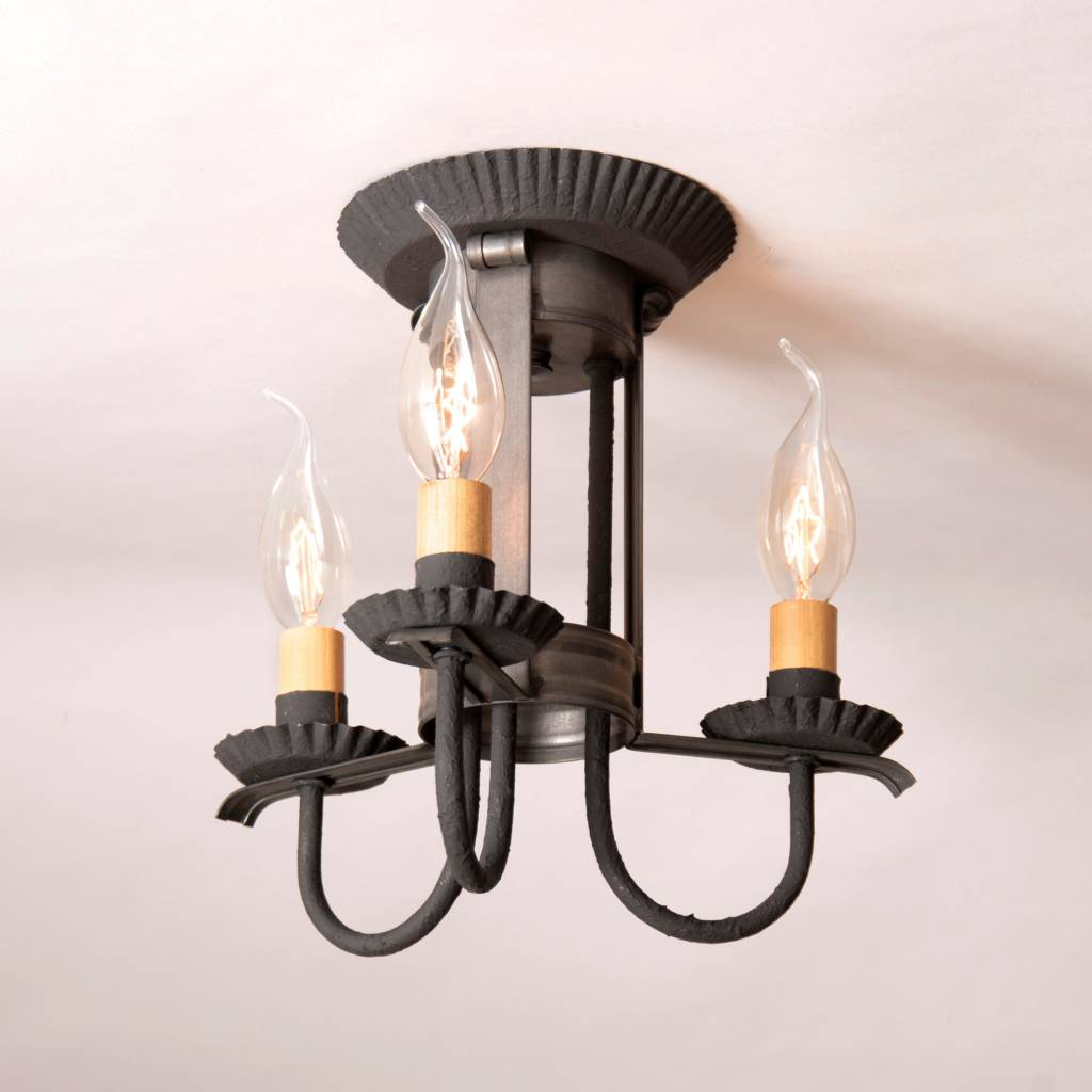 Irvin's Tinware Amherst Ceiling Light in Blackened Tin