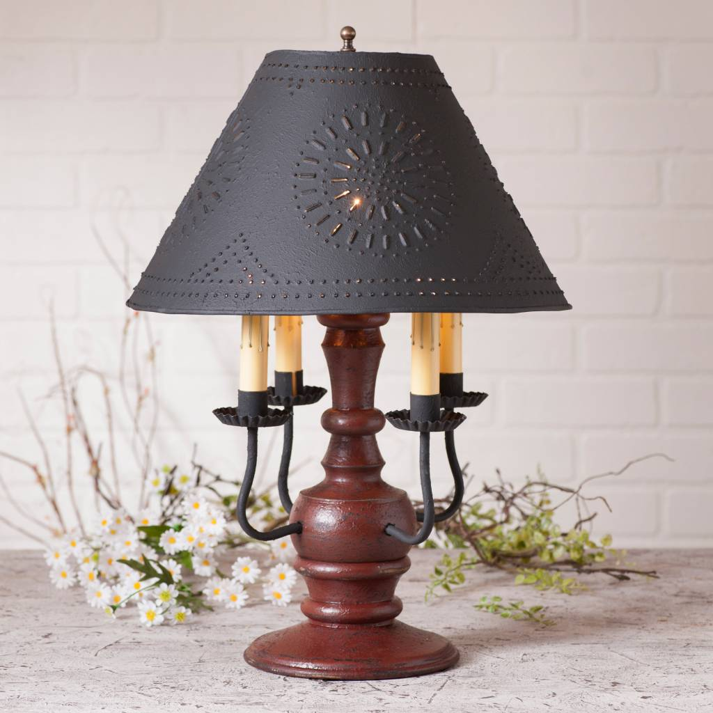 Irvin's Tinware Cedar Creek Lamp with Textured Black Shade