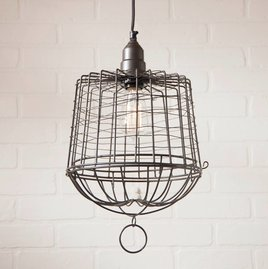 Egg Basket Cage Pendant in Smokey Black