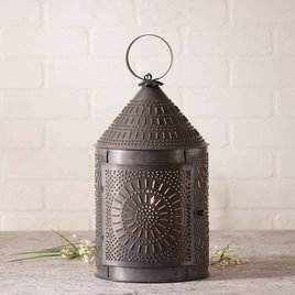Fireside Lantern in Blackened Tin