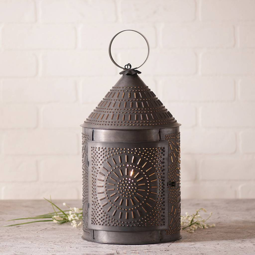 Fireside Lantern in Blackened Tin