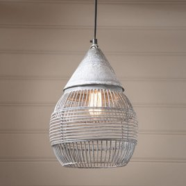 Irvin's Tinware Large Retro Cage Pendant in Weathered Zinc