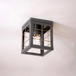 Irvin's Tinware Country Tin Ceiling Light with Brass Bars