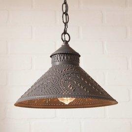 Irvin's Tinware Stockbridge Shade Light with Willow in Blackened Tin