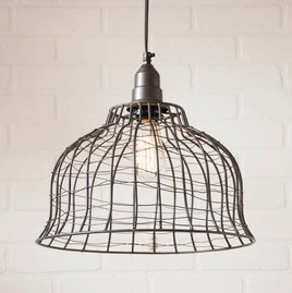 Irvin's Tinware Industrial Cage Pendant in Smokey Black